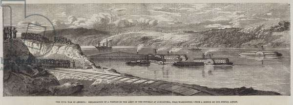 The Civil War in America, Embarkation of a Portion of the Army of the Potomac at Alexandria, near Washington (engraving)