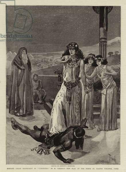 "Madame Sarah Bernhardt as ""Cleopatra"" in M Sardou's New Play at the Porte St Martin Theatre, Paris (engraving)"