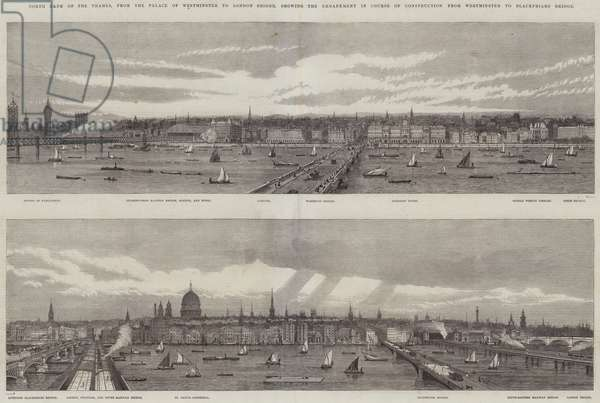 North Bank of the Thames, from the Palace of Westminster to London Bridge, showing the Embankment in Course of Construction from Westminster to Blackfriars Bridge (engraving)