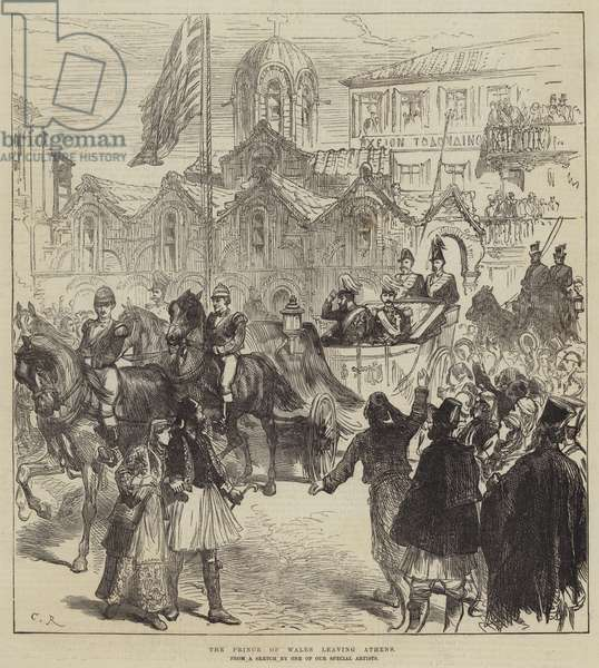 The Prince of Wales leaving Athens (engraving)