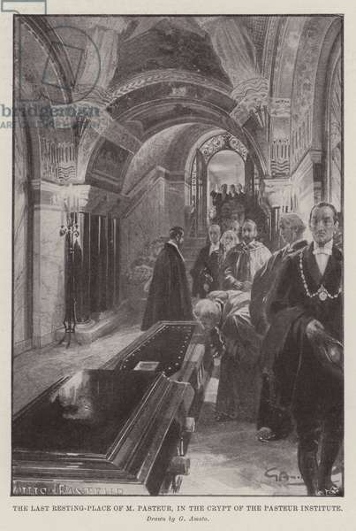 The Last Resting-Place of M Pasteur, in the Crypt of the Pasteur Institute (litho)