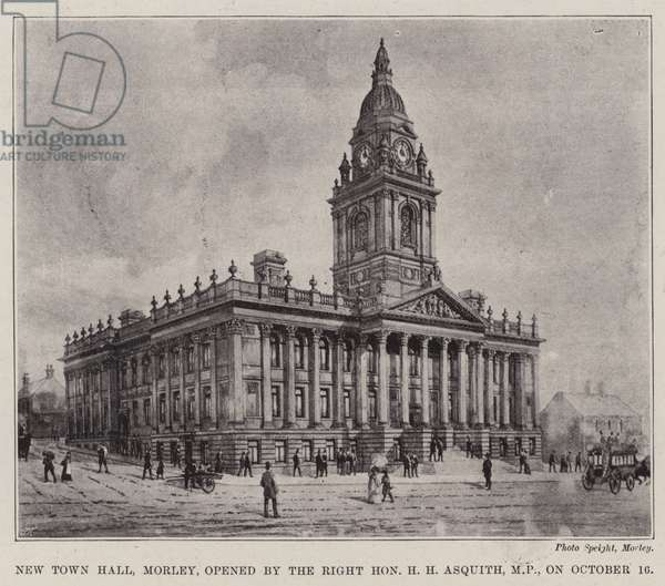 New Town Hall, Morley, opened by the Right Honourable H H Asquith, MP, on 16 October (litho)