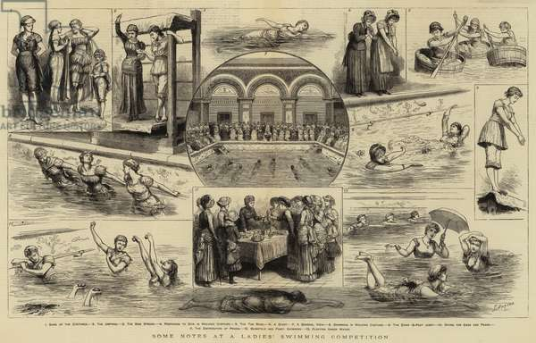 Some Notes at a Ladies' Swimming Competition (engraving)