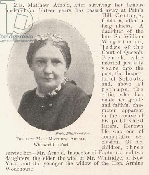 The late Mrs Matthew Arnold, Widow of the Poet (b/w photo)