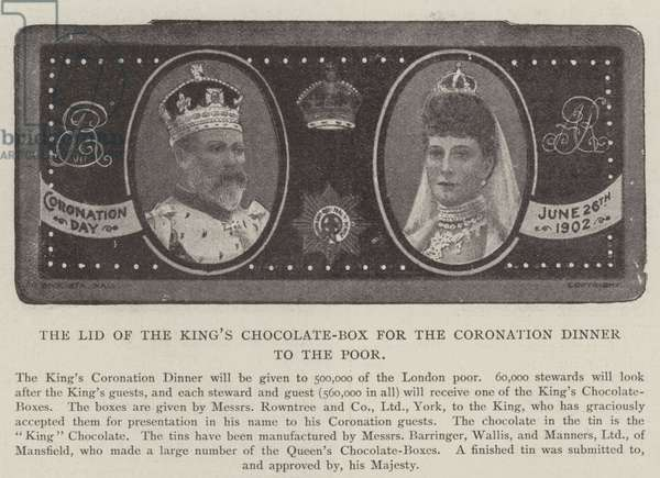 The Lid of the King's Chocolate-Box for the Coronation Dinner to the Poor (b/w photo)