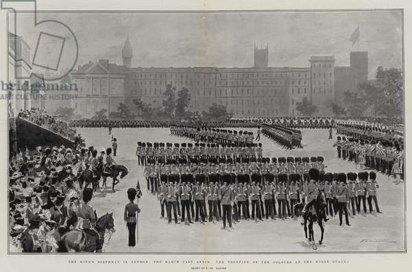 The King's Birthday in London, the March Past after the Trooping of the Colours at the Horse Guards (litho)