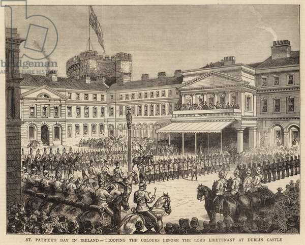 St Patrick's Day in Ireland, Trooping the Colours before the Lord Lieutenant at Dublin Castle (engraving)