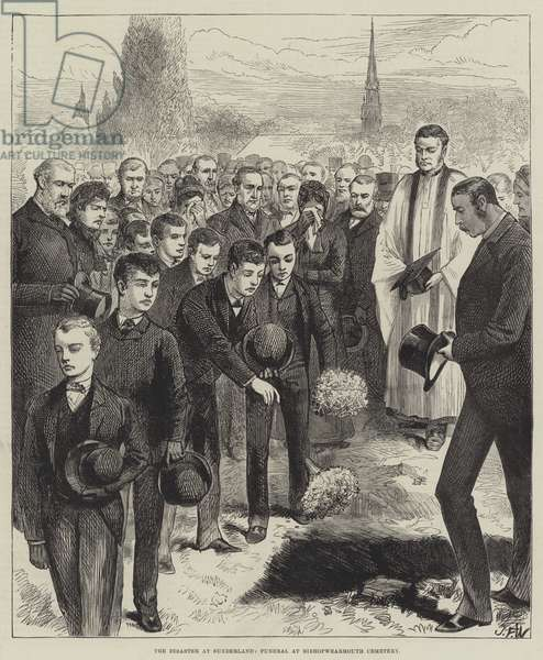 The Disaster at Sunderland, Funeral at Bishopwearmouth Cemetery (engraving)