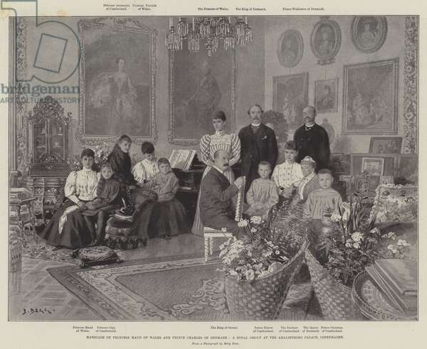 Marriage of Princess Maud of Wales and Prince Charles of Denmark, a Royal Group at the Amalienborg Palace, Copenhagen (litho)