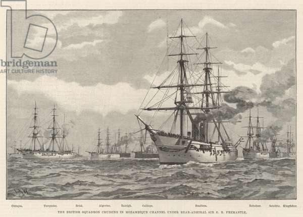 The British Squadron cruising in Mozambique Channel under Rear-Admiral Sir E R Fremantle (engraving)
