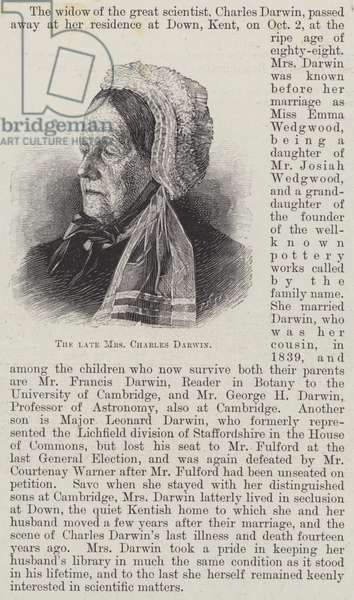 The late Mrs Charles Darwin (engraving)