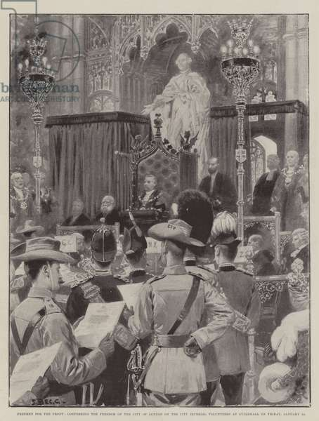 Freemen for the Front, conferring the Freedom of the City of London on the City Imperial Volunteers at Guildhall on Friday, 12 January (litho)