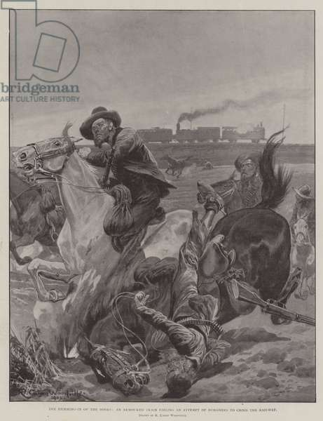 The Hemming-In of the Boers, an Armoured Train foiling an Attempt of Burghers to cross the Railway (litho)