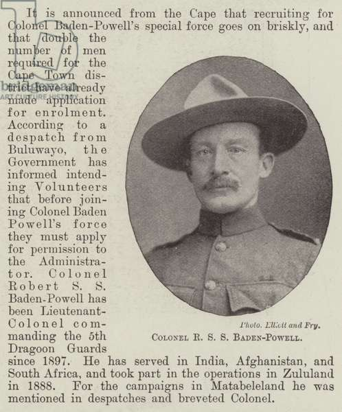 Colonel R S S Baden-Powell (b/w photo)