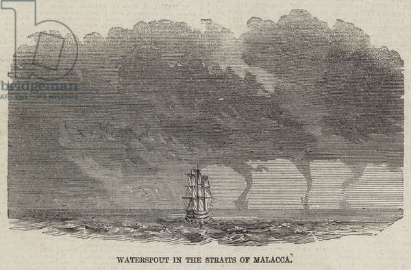 Waterspout in the Straits of Malacca (engraving)