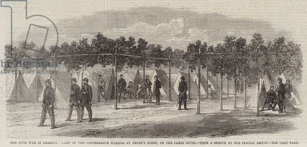 The Civil War in America, Camp of the Confederate Marines at Drury's Bluff, on the James River (engraving)