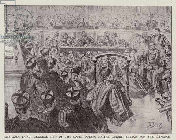 The Zola Trial, General View of the Court during Maitre Labori's Speech for the Defence (litho)