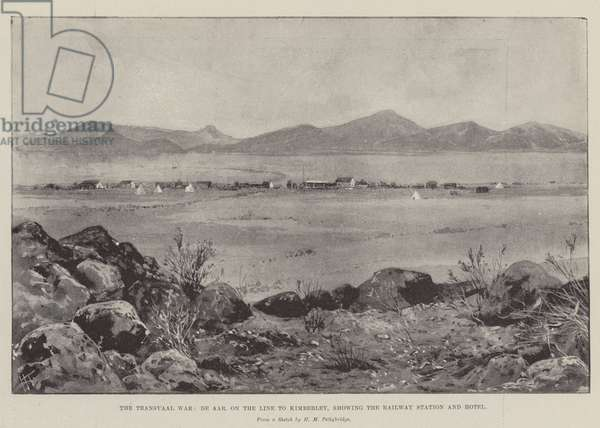 The Transvaal War, De Aar, on the Line to Kimberley, showing the Railway Station and Hotel (engraving)