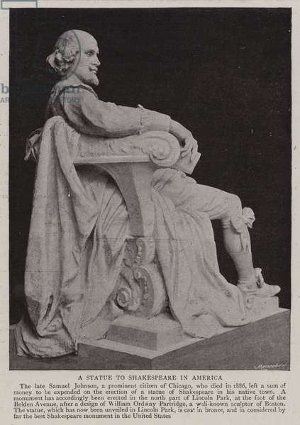 A Statue to Shakespeare in America (b/w photo)