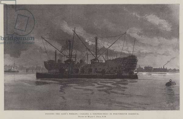 Feeding the Lion's Whelps, coaling a Torpedo-Boat in Portsmouth Harbour (litho)