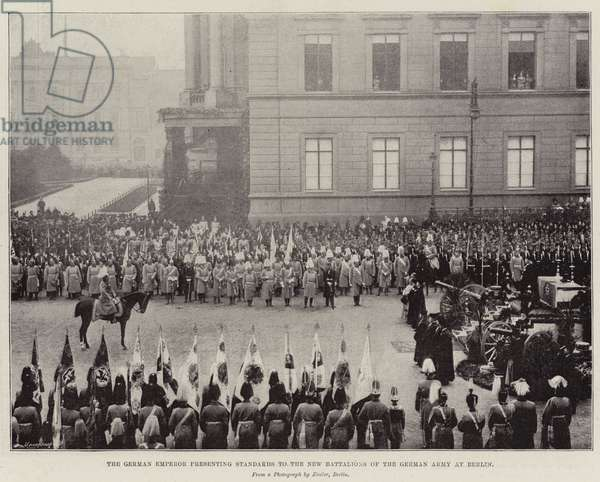 The German Emperor presenting Standards to the New Battalions of the German Army at Berlin (b/w photo)