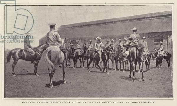 General Baden-Powell reviewing South African Constabulary at Modderfontein (litho)