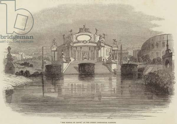 """""""The Temple of Janus,"""" at the Surrey Zoological Gardens (engraving)"""