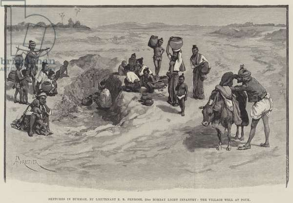 Sketches in Burmah, by Lieutenant E R Penrose, 23rd Bombay Light Infantry, the Village Well at Pouk (engraving)