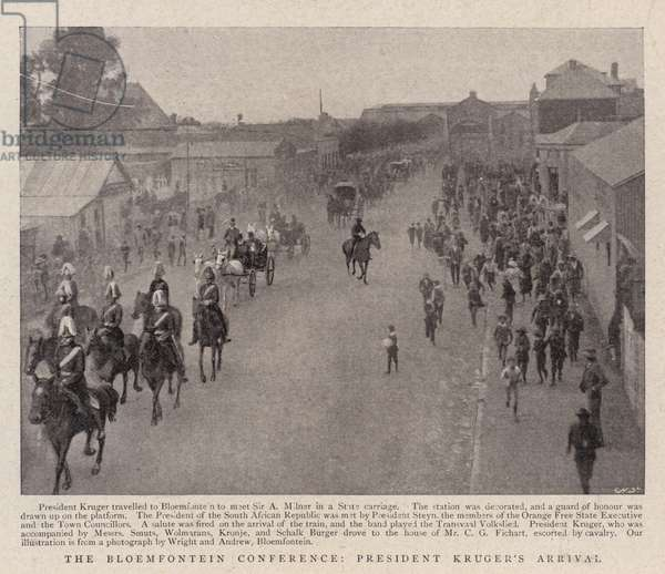 The Bloemfontein Conference, President Kruger's Arrival (b/w photo)