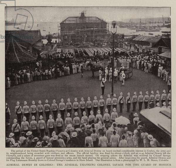 Admiral Dewey in Colombo, the Admiral thanking Colonel Savage for the Guard of Honour (b/w photo)