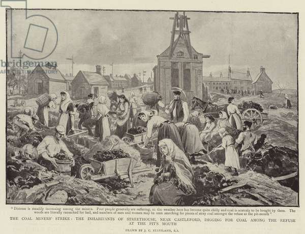 The Coal Miners' Strike, the Inhabitants of Streethouse, near Castleford, digging for Coal among the Refuse at the Pit's Mouth (litho)