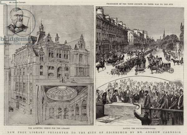 New Free Library presented to the City of Edinburgh by Mr Andrew Carnegie (litho)