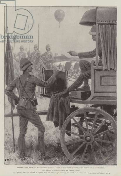 General Lord Methuen, with Colonel Douglas, Chief of his Staff, directing the Battle of Magersfontein (litho)