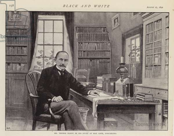 Thomas Hardy in his study at Max Gate, Dorchester (litho)