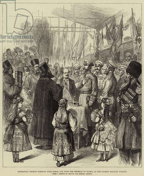 Roumanian Priests blessing with Bread and Wine the Emperor of Russia at the Ploesti Railway Station (engraving)