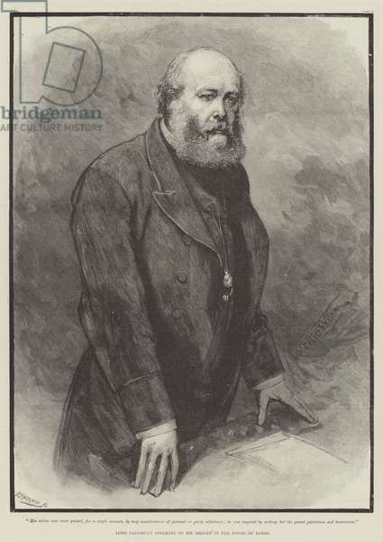 Lord Salisbury speaking of Mr Bright in the House of Lords (engraving)