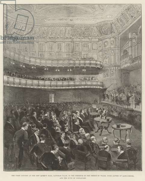 The First Concert at the New Queen's Hall, Langham Place, in the Presence of the Prince of Wales, Duke Alfred of Saxe-Coburg, and the Duke of Connaught (engraving)
