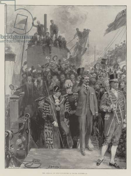 The Arrival of Lord Kitchener at Dover, 27 October (litho)