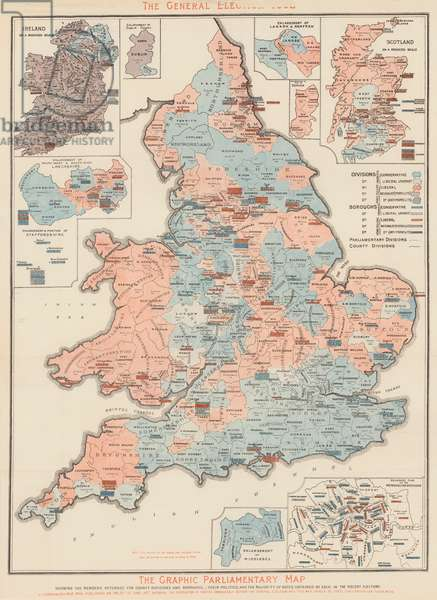 The Graphic Parliamentary Map (colour litho)