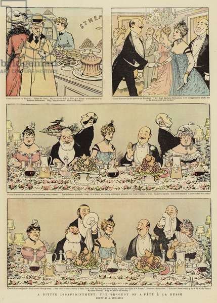 A Bitter Disappointment, the Tragedy of a Pate a la Russe (colour litho)