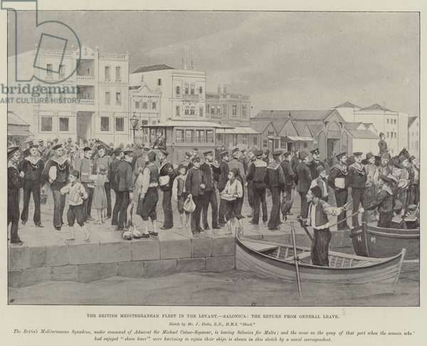 The British Mediterranean Fleet in the Levant, Salonica, the Return from General Leave (litho)