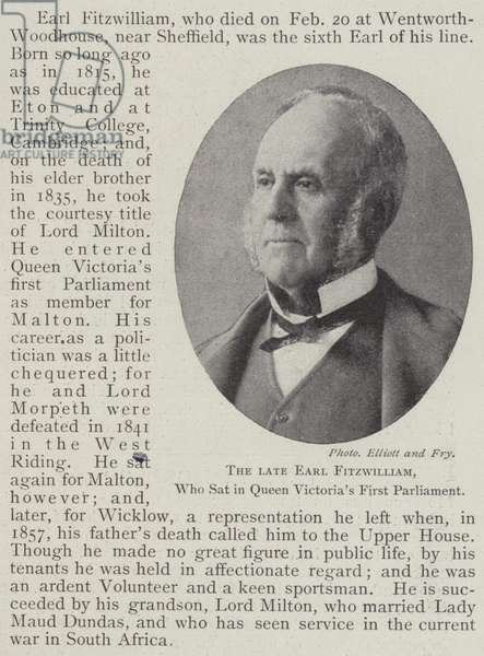 The late Earl Fitzwilliam, who sat in Queen Victoria's First Parliament (engraving)
