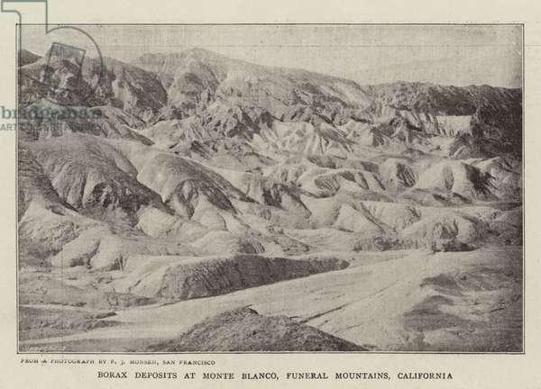 Borax Deposits at Monte Blanco, Funeral Mountains, California (b/w photo)