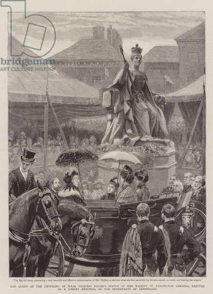 The Queen at the Unveiling of HRH Princess Louise's Statue of Her Majesty in Kensington Gardens, erected as a Jubilee Memorial by the Inhabitants of Kensington (engraving)