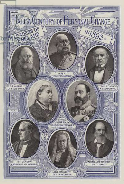 Half a Century of Personal Change, Leaders of England in 1842 (engraving)