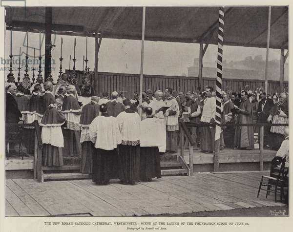 The New Roman Catholic Cathedral, Westminster, Scene at the Laying of the Foundation-Stone on 29 June (b/w photo)