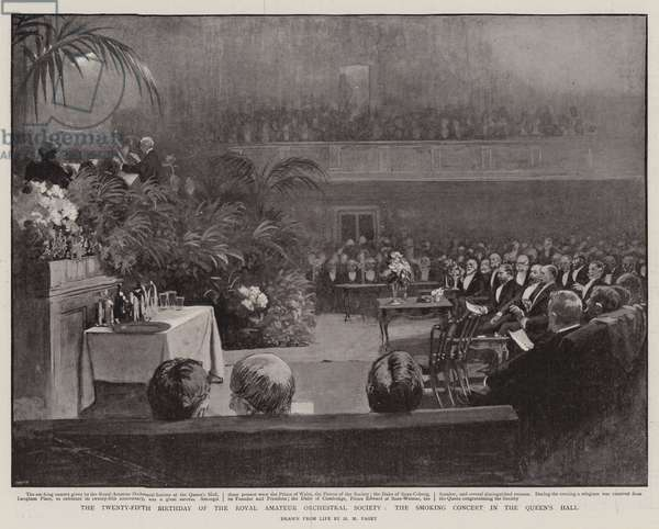 The Twenty-Fifth Birthday of the Royal Amateur Orchestral Society, the Smoking Concert in the Queen's Hall (litho)