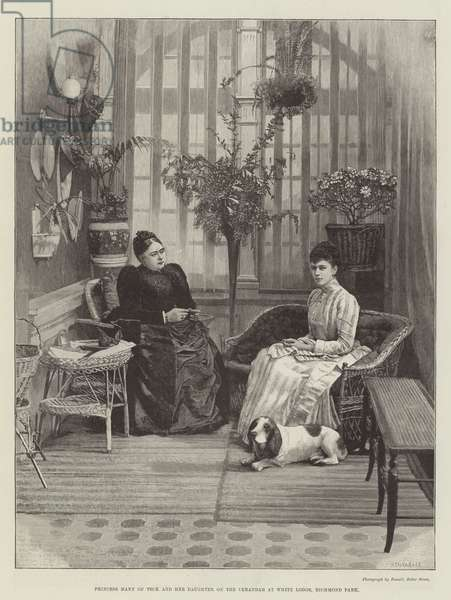 Princess Mary of Teck and her Daughter on the Verandah at White Lodge, Richmond Park (engraving)