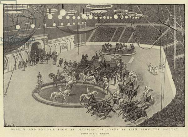 Barnum and Bailey's Show at Olympia, the Arena as seen from the Gallery (litho)