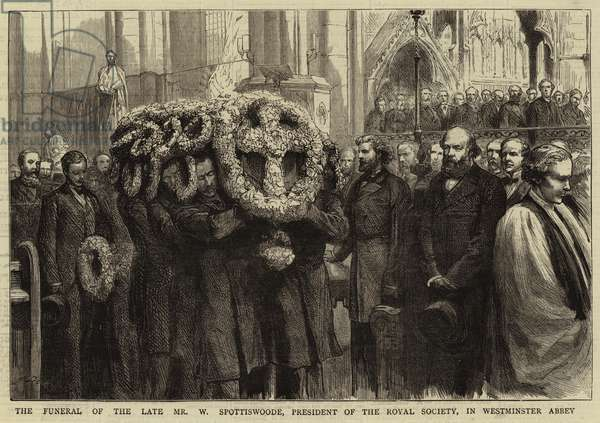 The Funeral of the Late Mr W Spottiswoode, President of the Royal Society, in Westminster Abbey (engraving)